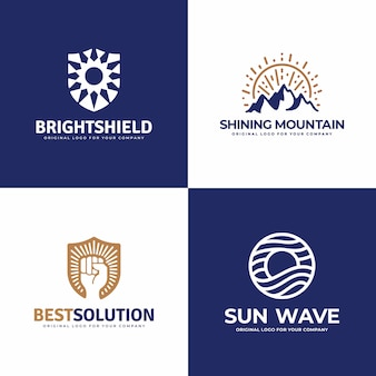 Kolekcja logo tarcza, góra, słońce, mocna ręka, fala.