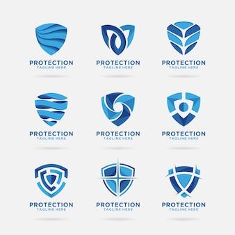 Kolekcja logo tarcza z abstrakcyjnym wzorem