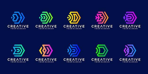 Kolekcja logo technologii streszczenie sześciokąt litera d