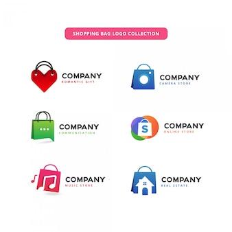Kolekcja logo torby na zakupy