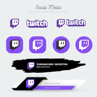 Kolekcja logo twitch mediów społecznościowych z niższymi trzecimi