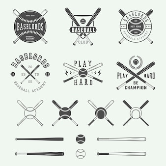Kolekcja Logo Vintage Baseball Premium Wektorów