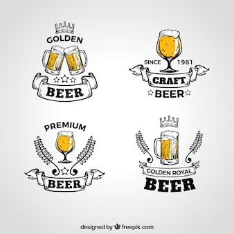 Kolekcja logo vintage piwo