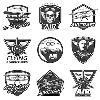Kolekcja logo vintage samolotów