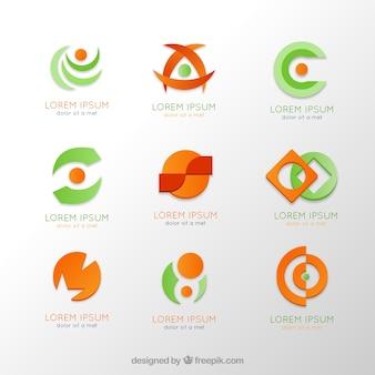 Kolekcja logo w pomarańczowe i zielone kolory