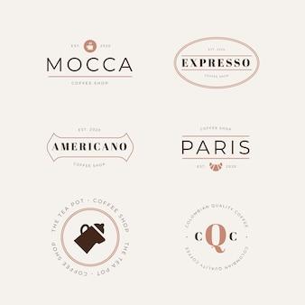 Kolekcja logo w stylu retro kawiarni
