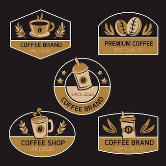 Kolekcja logo w stylu retro kawiarnia