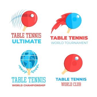 Kolekcja logo w stylu tenis stołowy