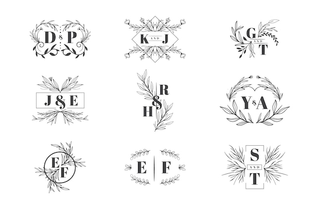 Kolekcja logo wesele kwiatowy