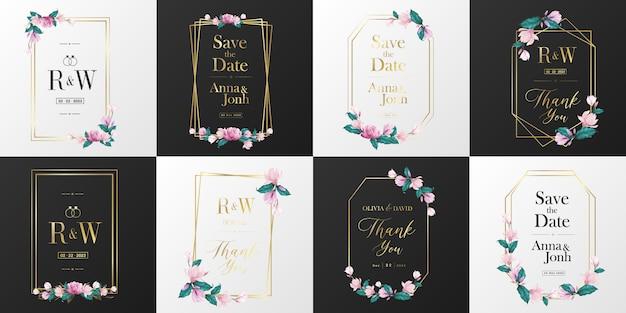 Kolekcja logo wesele monogram. akwarela kwiatowy ramki do projektowania kart zaproszenie.