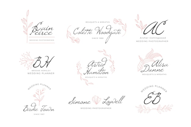 Kolekcja logo wesele monogram