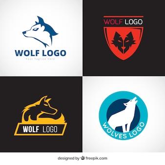 Kolekcja logo wolf stylu