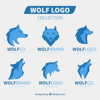 Kolekcja logo wolfa płaska