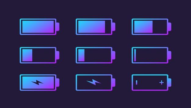 Kolekcja logo wskaźnika ładowania baterii