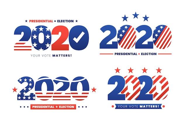Kolekcja logo wyborów prezydenckich w usa w 2020 r