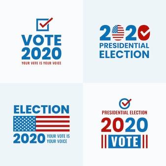 Kolekcja logo wyborów prezydenckich w usa w 2020 roku