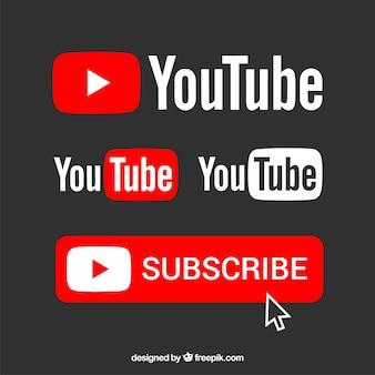 Kolekcja logo Youtube o płaskiej konstrukcji
