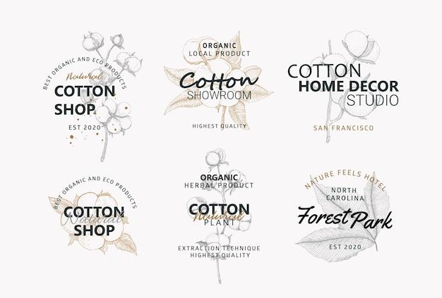 Kolekcja logo z bawełnianymi kwiatami