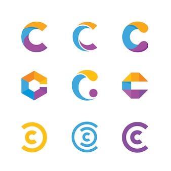 Kolekcja logo z literą c.