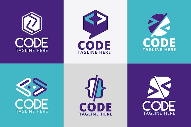 Kolekcja logo z płaskim kodem