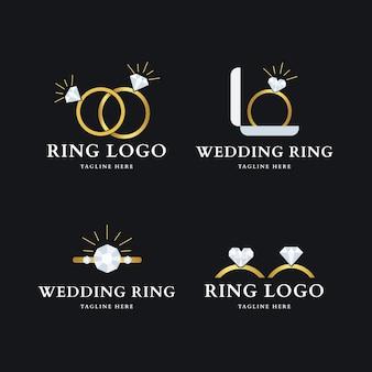 Kolekcja logo z płaskim pierścieniem