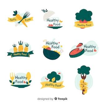 Kolekcja logo zdrowej żywności
