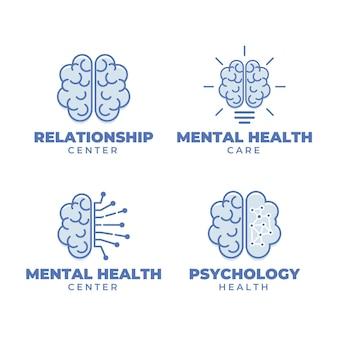 Kolekcja logo zdrowia psychicznego płaska konstrukcja