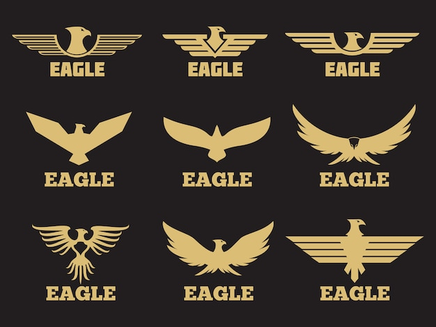Kolekcja logo złotego orła heraldycznego