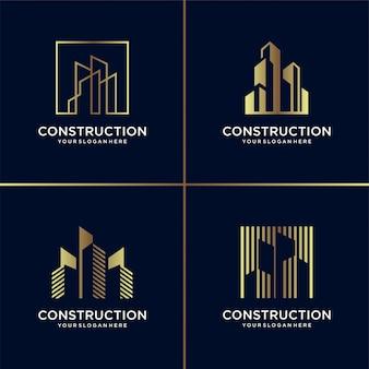 Kolekcja logo złotej konstrukcji, budynek, złoto, architekt, nowoczesny, abstrakcyjny,