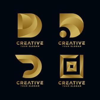 Kolekcja Logo Złotej Początkowej Litery D Premium Wektorów