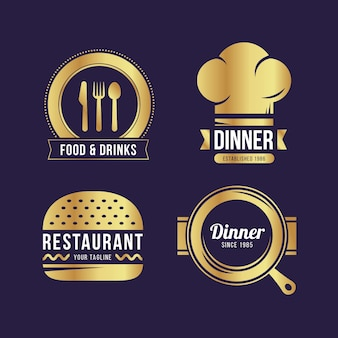 Kolekcja logo złotej restauracji retro