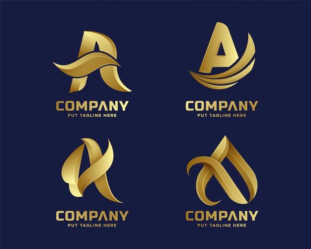 Kolekcja logo złoty inital list