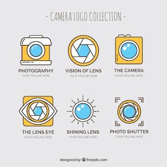 Kolekcja logo żółtego aparatu fotograficznego