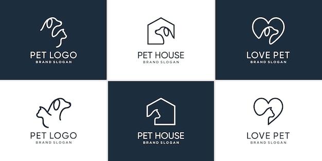 Kolekcja logo zwierząt domowych z kreatywnym elementem obiektu psa i kota premium wektorów