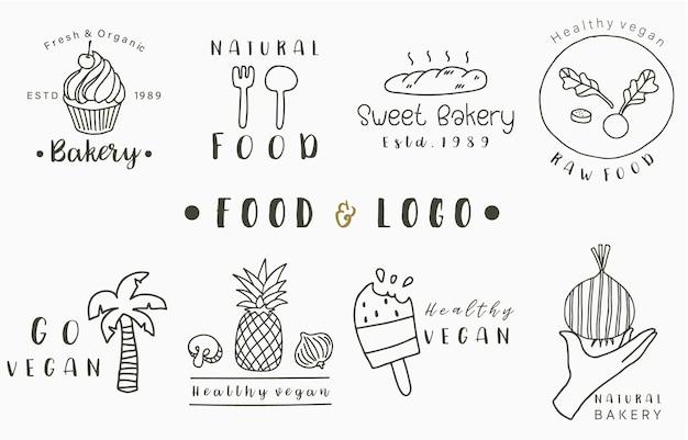 Kolekcja logo żywności z ananasem, chlebem, drzewem kokosowym, lodami. ilustracja wektorowa ikony, logo, naklejki, do druku i tatuaż