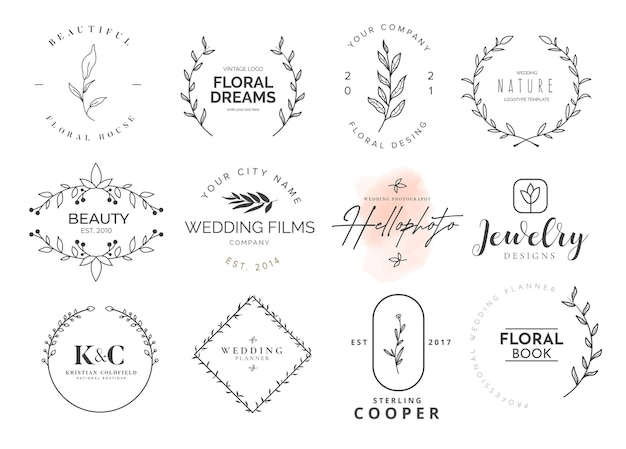 Kolekcja logotypów piękna z ozdobami kwiatowymi