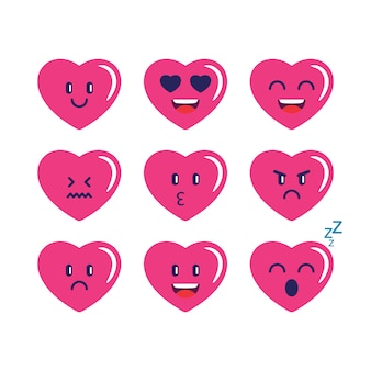 Kolekcja love emojis heart