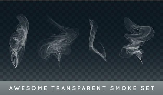Kolekcja lub zestaw realistycznego dymu papierosowego lub mgły lub zamglenia.
