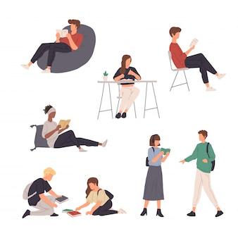 Kolekcja ludzi charakter ilustracja robi różne działania w płaskiej konstrukcji