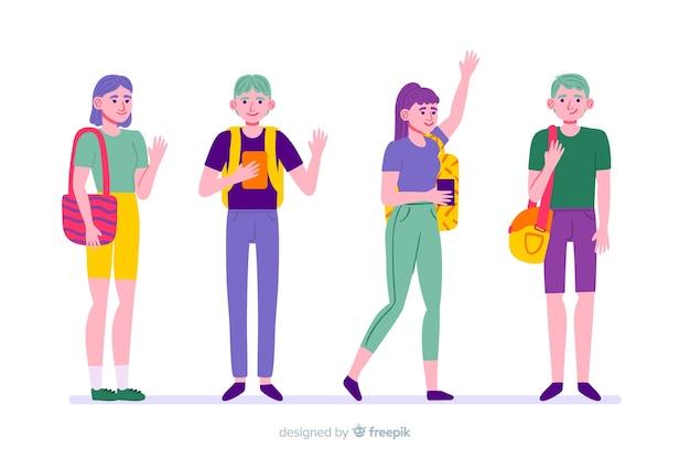 Kolekcja ludzi idących na uniwersytet