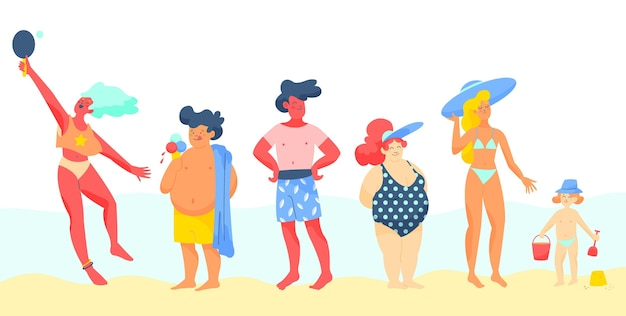 Kolekcja ludzi na plaży