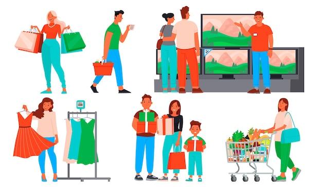 Kolekcja ludzi na zakupy. mężczyźni i kobiety kupują ubrania i artykuły spożywcze, upominki i sprzęt agd w sklepach i centrach handlowych. sezonowa wyprzedaż i duże rabaty.