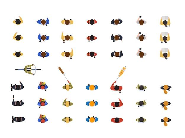 Kolekcja ludzi spacerujących z psem na smyczy, patrzących na smartfona, jeżdżących na rowerze lub rowerze na białym tle. góra lub widok z góry. ilustracja wektorowa kolorowe w stylu cartoon płaskie.