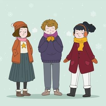 Kolekcja ludzi w przytulnych ubraniach zimą