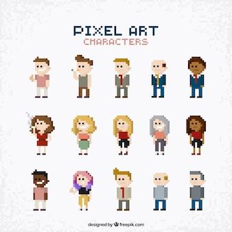 Kolekcja ludzi w stylu pixel sztuki