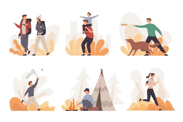 Kolekcja ludzi wykonujących różne działania na świeżym powietrzu