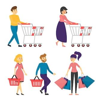 Kolekcja ludzi z wózkami na zakupy i koszami.
