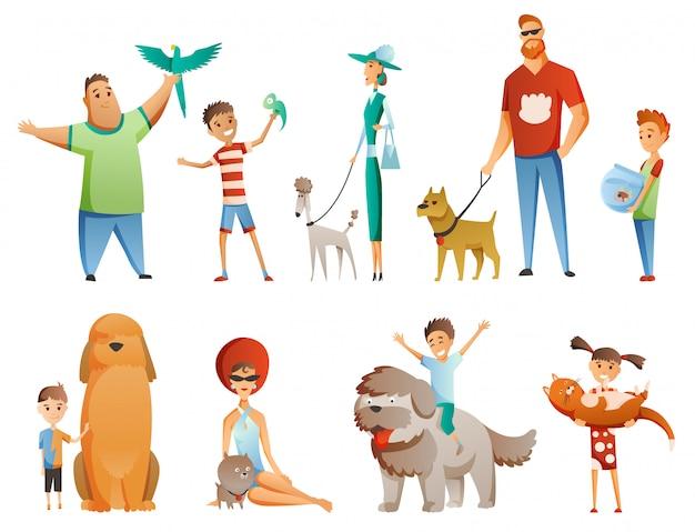 Kolekcja ludzi ze zwierzętami domowymi na białym tle