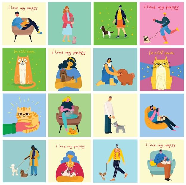 Kolekcja ludzi ze zwierzętami. zestaw mężczyzn i kobiet posiadających zwierzęta domowe.