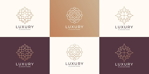Kolekcja luksusowe piękno minimalistyczny styl sztuki linii logo. ikona do salonu, kosmetyków, mody, pielęgnacji skóry.
